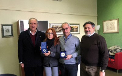 The IFBDO President awards Doctor G.Arcaro and Mr Capitan A. Forciniti with the Cross of Merit