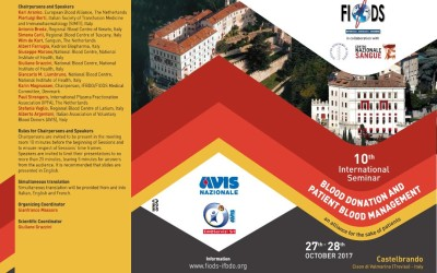 10th FIODS International Seminar  Blood donation and patient blood management