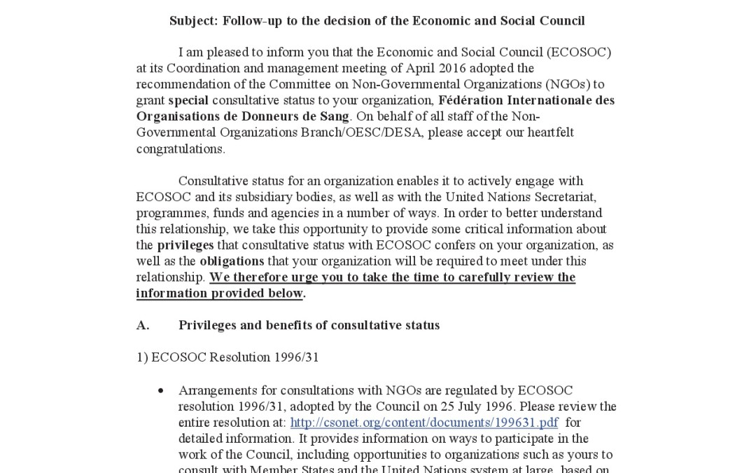 Follow-up to the decision of the Economic and Social Council-13 April 2016