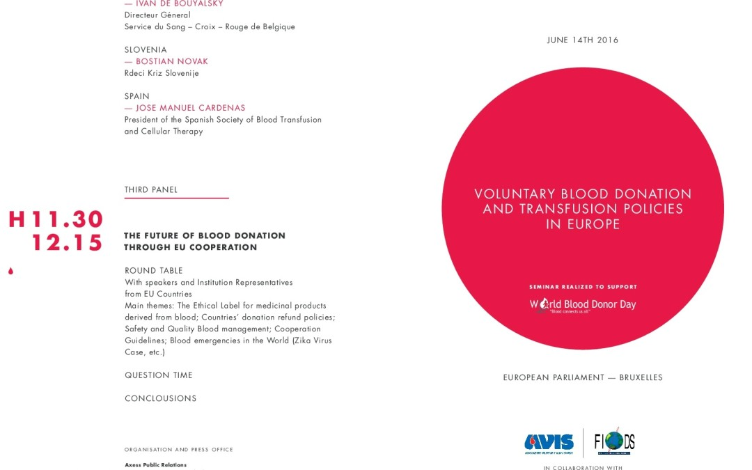 VOLUNTARY BLOOD DONATION AND TRANSFUSION POLICIES IN EUROPE – EUROPEAN PARLIAMENT, BRUXELLES-14 June 2016
