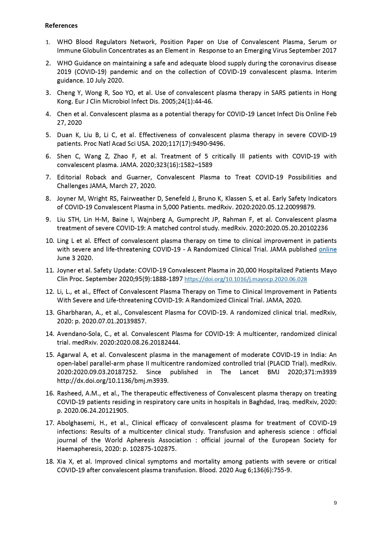Guidance plasma Covid-19